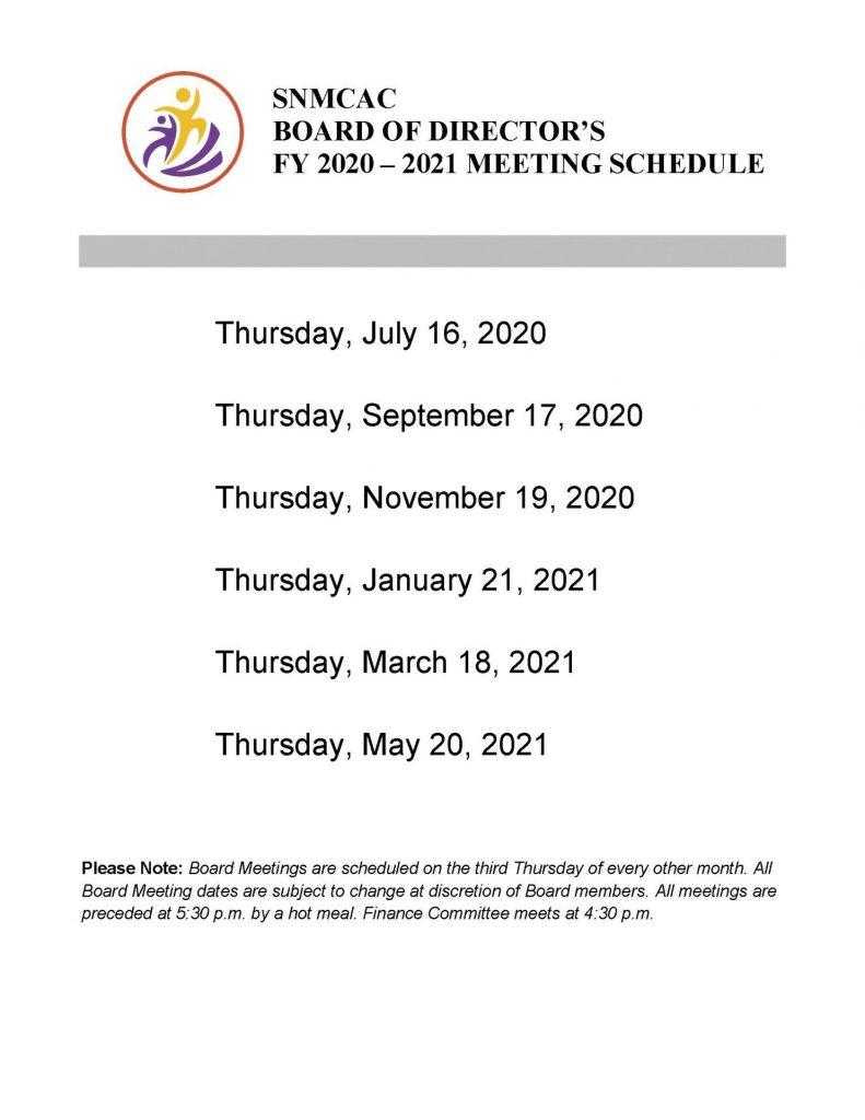 BOD Mtg Schedule FY20 21
